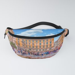People in Nice Plaza with Fountain Fanny Pack