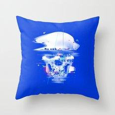 Blue glitch of death Throw Pillow