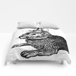 The Rabbit and Roses | Black and White Comforters