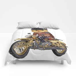 Cat riding motorcycle Comforters