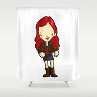 amy pond Shower Curtains featuring AMY by Space Bat designs