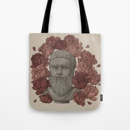 Plato in the Peonies Tote Bag