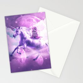Kitty Cat Riding On Flying Space Galaxy Unicorn Stationery Cards