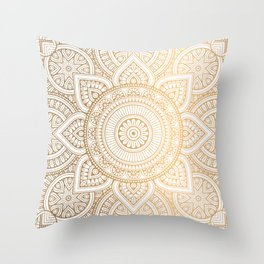 Gold Mandala Pattern Illustration With White Shimmer Throw Pillow