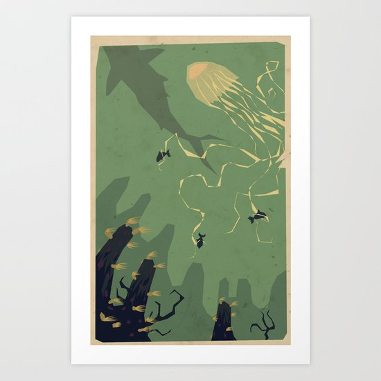 Meanwhile, deep below.... Art Print