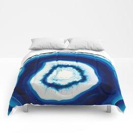 Blue Agate Geode Slice Comforters