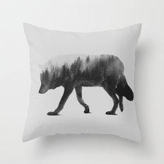 The Wolf (black & white version) Throw Pillow