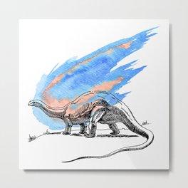 Brontosaurus Dinosaur on Blue Watercolor Asteroid Metal Print