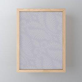 Pantone Lilac Gray Fancy Leaves Scroll Damask Pattern Framed Mini Art Print