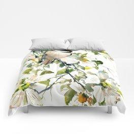 chickadee and dogwood, chickadee art design floral Comforters
