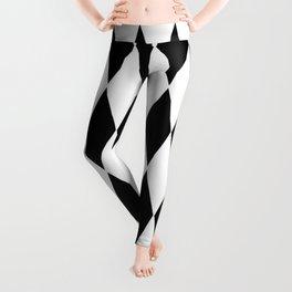 LARGE  WHITE AND BLACK   HARLEQUIN DIAMOND PATTERN Leggings