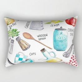 Kitchen set illustration Rectangular Pillow