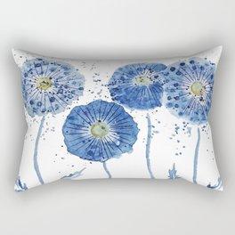 four blue dandelions watercolor Rectangular Pillow