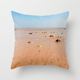 Beach in Oleron at low tide Throw Pillow