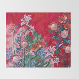 Ruby Red Floral Jungle Throw Blanket