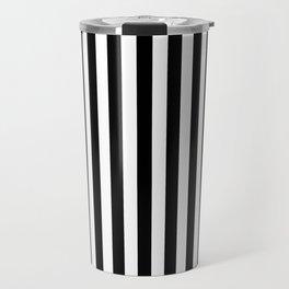 Stripe Black & White Vertical Travel Mug