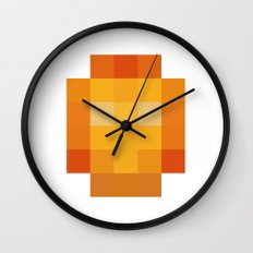 hero pixel red yellow Wall Clock