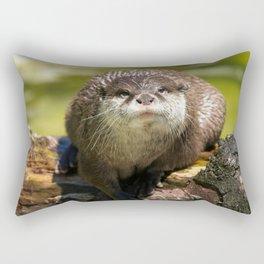 Otter on A Tree Trunk Rectangular Pillow