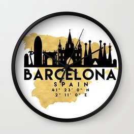 BARCELONA SPAIN SILHOUETTE SKYLINE MAP ART Wall Clock