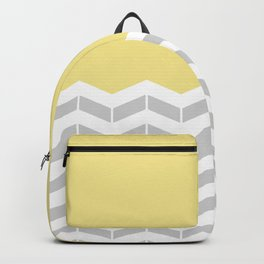 Grey, White & Yellow Half Chevron Backpack