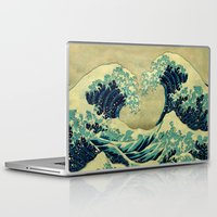 blanket Laptop & iPad Skins featuring The Great Blue Embrace at Yama by Kijiermono