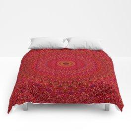 Red Lace Ornament Mandala Comforters