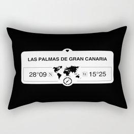 Las Palmas de Gran Canaria Canary Islands with World Map GPS Rectangular Pillow