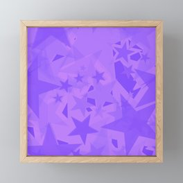 Calm large purple stars on the eggplant background in projection and with depth. Framed Mini Art Print