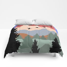 Mountain Geese Scene Comforters