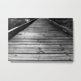 Boardwalk in Nature BW Metal Print