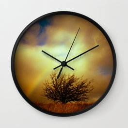 English landscape with tree and rainbow, UK Wall Clock