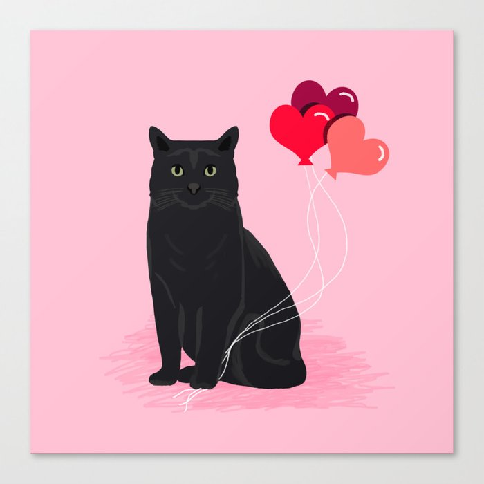 Black Cat valentines day balloons hearts cat breeds must have gifts valentine's day Leinwanddruck