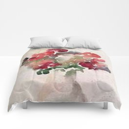 Red Flower Watercolor Comforters