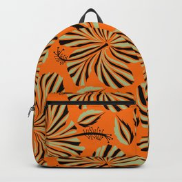 Tropical design with hibiscus in neutral and black colors. Exotic flowers in allover composition. Vintage hand drawn illustration pattern Backpack