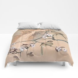 Cherry Tree And Two Birds Comforters