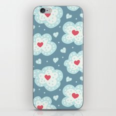 Winter Hearts And Snowy Clouds iPhone & iPod Skin