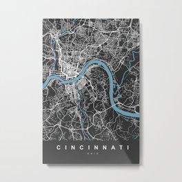 CINCINNATI Map Ohio | Black & Blue | More Colors, Review My Collections Metal Print