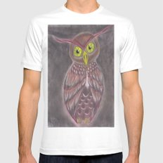 Stylized Owl Mens Fitted Tee White MEDIUM