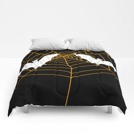 Halloween Orange Spider web with Bats Comforters