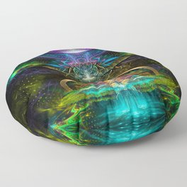 Neon - Fractal - Visionary Art - Manafold Art Floor Pillow