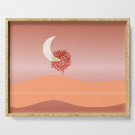 English Rose Evening - Simple landscape  illustration  Serving Tray