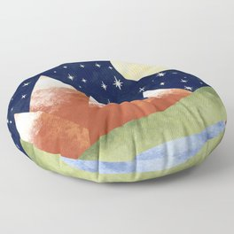 Full Moon In The Mountains Floor Pillow