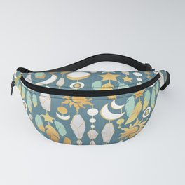 Bohemian spirit // dark turquoise background Fanny Pack