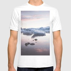 Sunset over Glacier Lagoon White Mens Fitted Tee MEDIUM