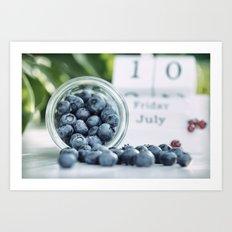 Wild Bluebeeries in Glass for kitchen Art Print