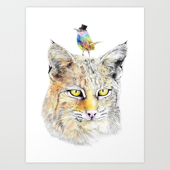 Cat&Bird Art Print