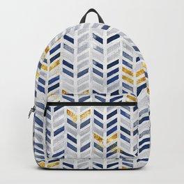 Herringbone chevron pattern.Indigo faux gold acrylic canvas Backpack