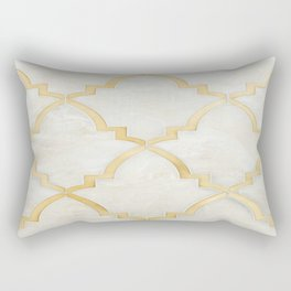 White Gold Marble Moraccan Style Pattern Rectangular Pillow
