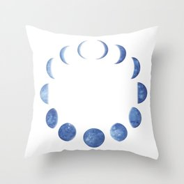 Blue Moon Phases | Watercolor Painting Throw Pillow
