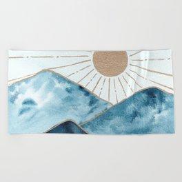 Indigo & gold landscape 1 Beach Towel